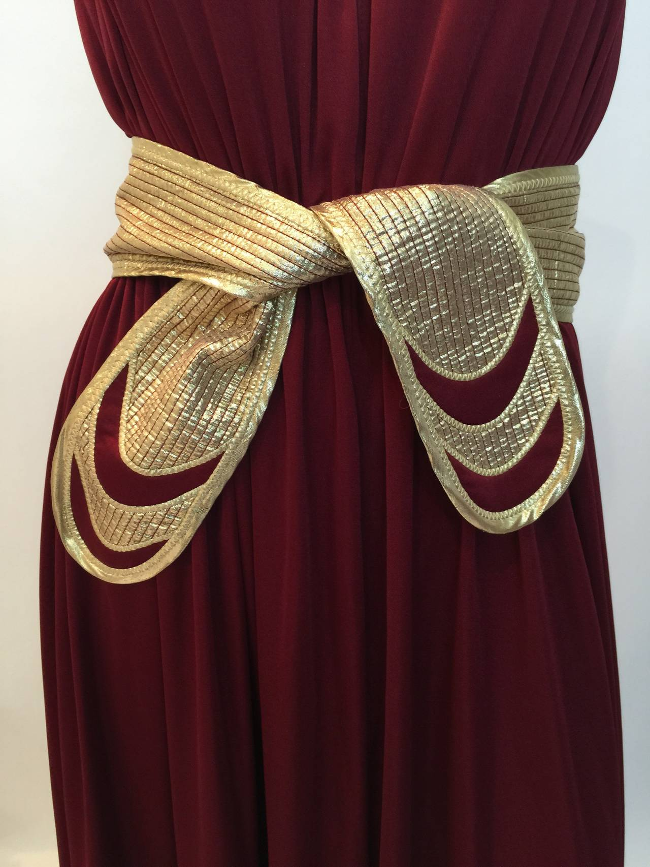 1970s Bill Tice Merlot And Gold Open Back Dress At 1stdibs