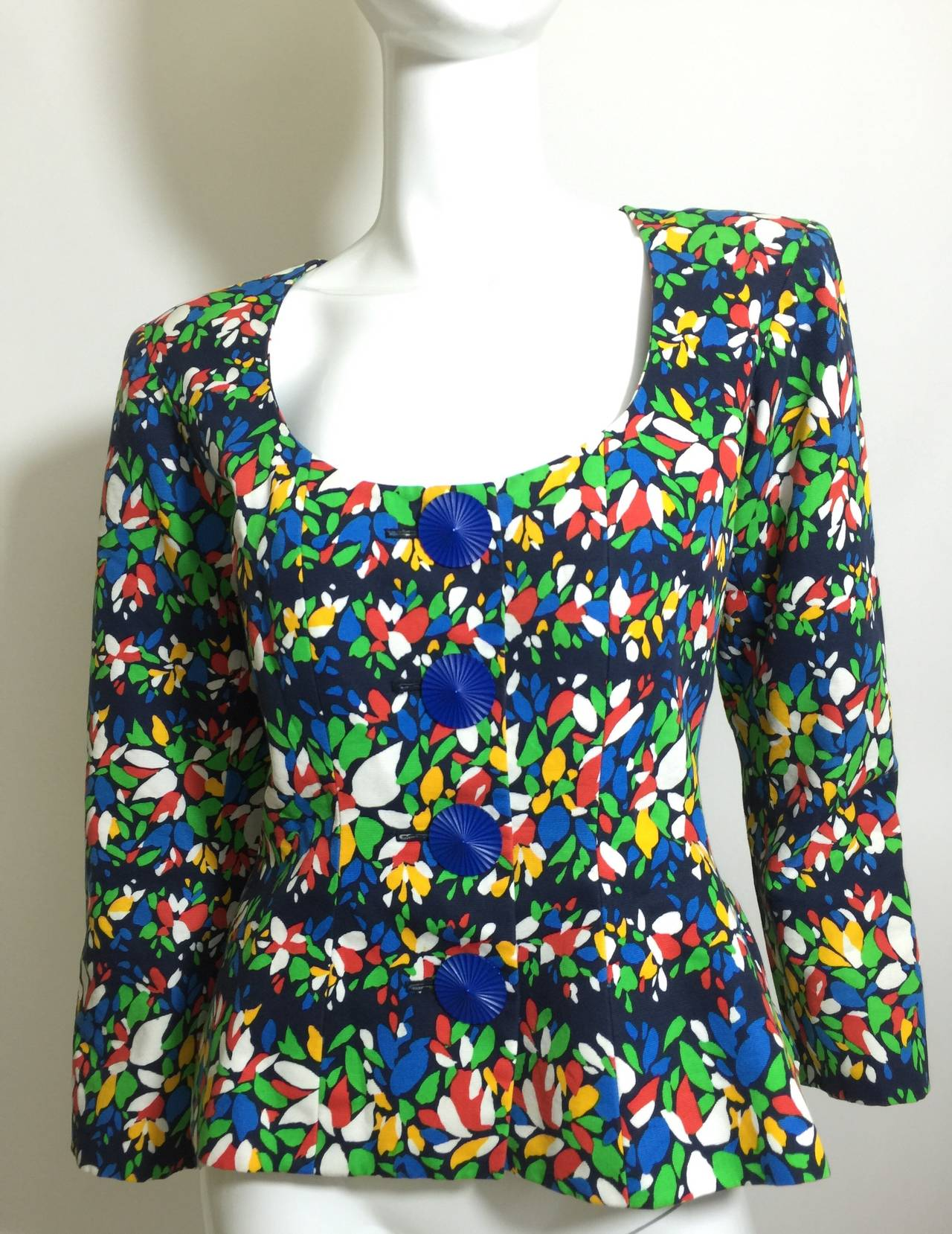Black 1990s Yves Saint Laurent Colorful Floral Print Sculptural Button Blouse / Jacket For Sale