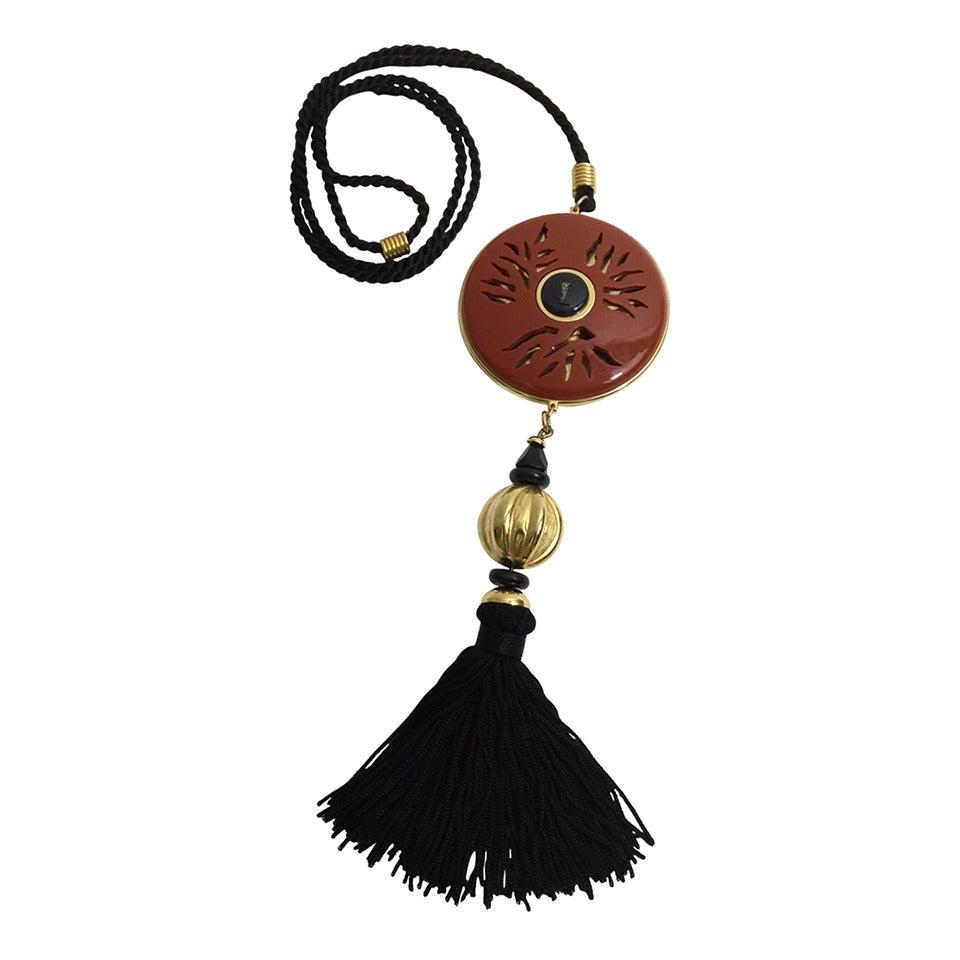 Yves Saint Laurent Vintage Opium Pendant & Gold Bead Black Tassel Necklace 1