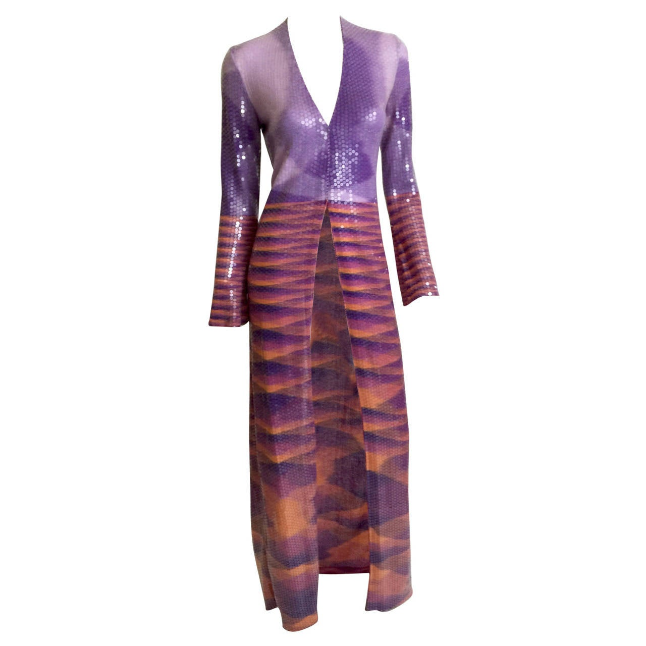 Magnificent Vintage Missoni Purple Pink Maxi Sequin Duster ...