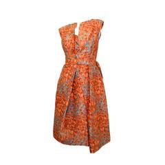 1950s Hattie Carnegie bow detail & floral print silk dress