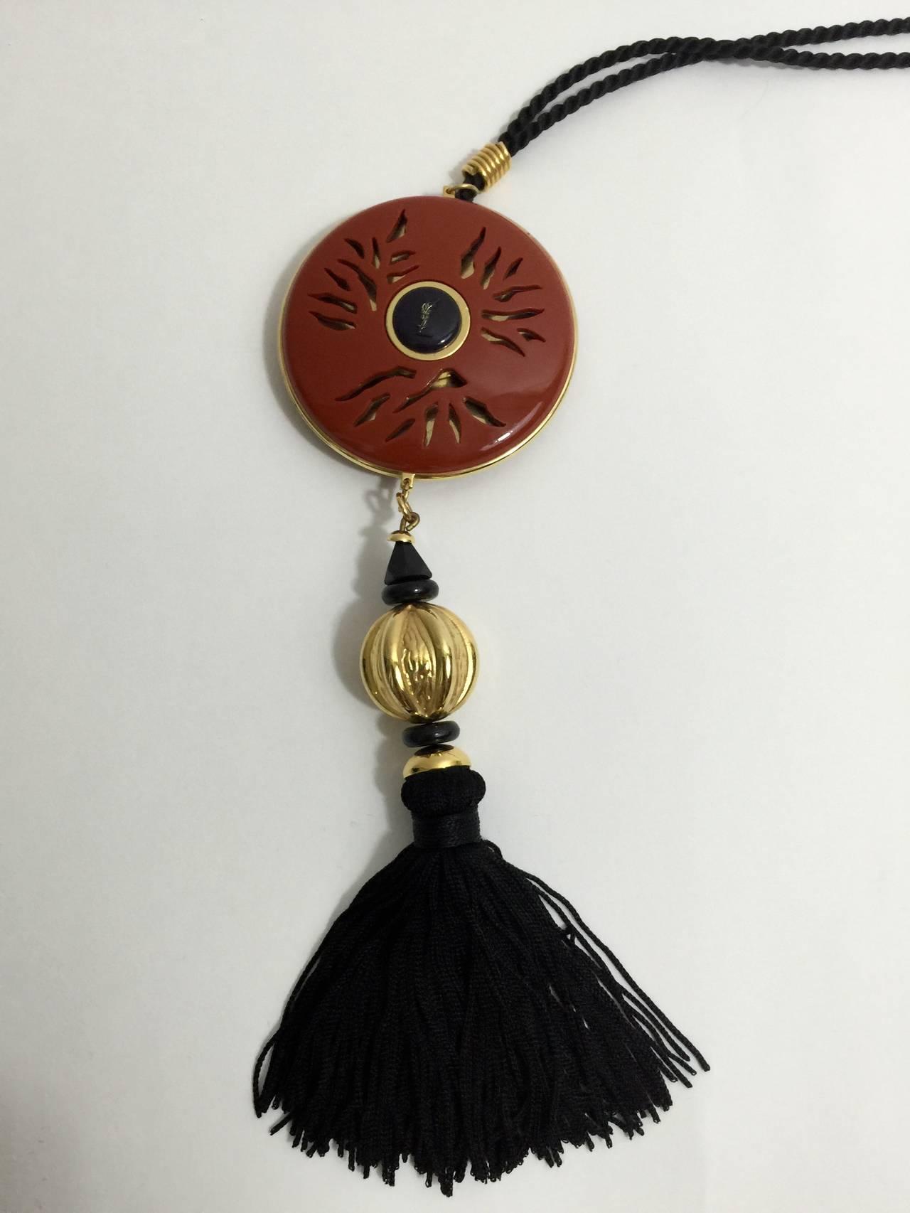 Yves Saint Laurent Vintage Opium Pendant & Gold Bead Black Tassel Necklace 8