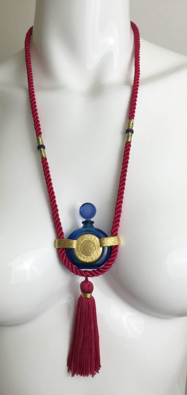 Vintage Rochas Tassel Perfume Pendant Necklace 3