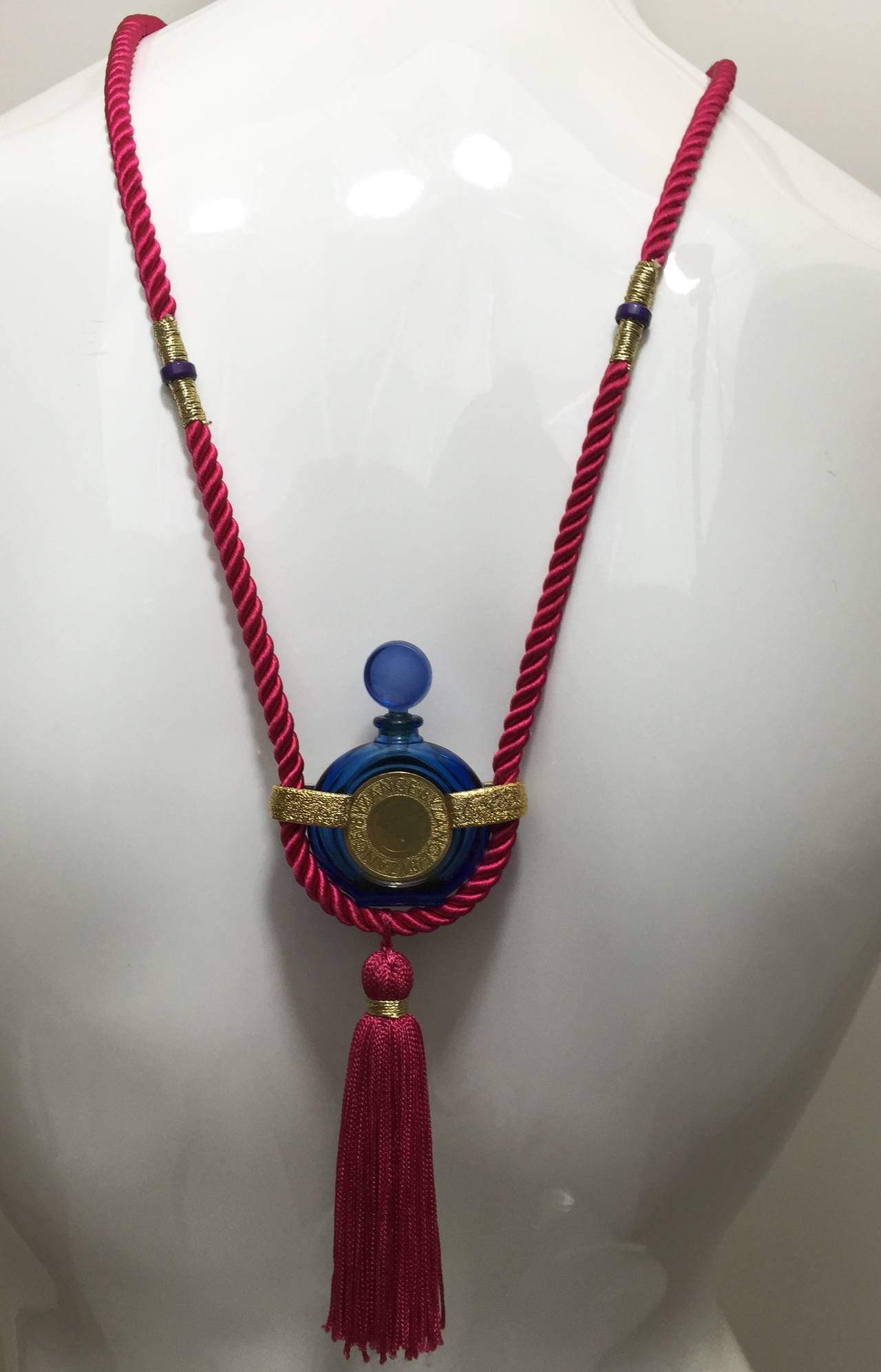 Vintage Rochas Tassel Perfume Pendant Necklace 4