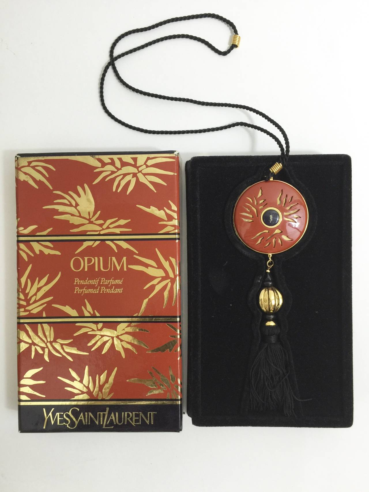 Yves Saint Laurent Vintage Opium Pendant & Gold Bead Black Tassel Necklace 5