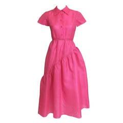 1970's Bill Blass Pink Silk Organza Dress