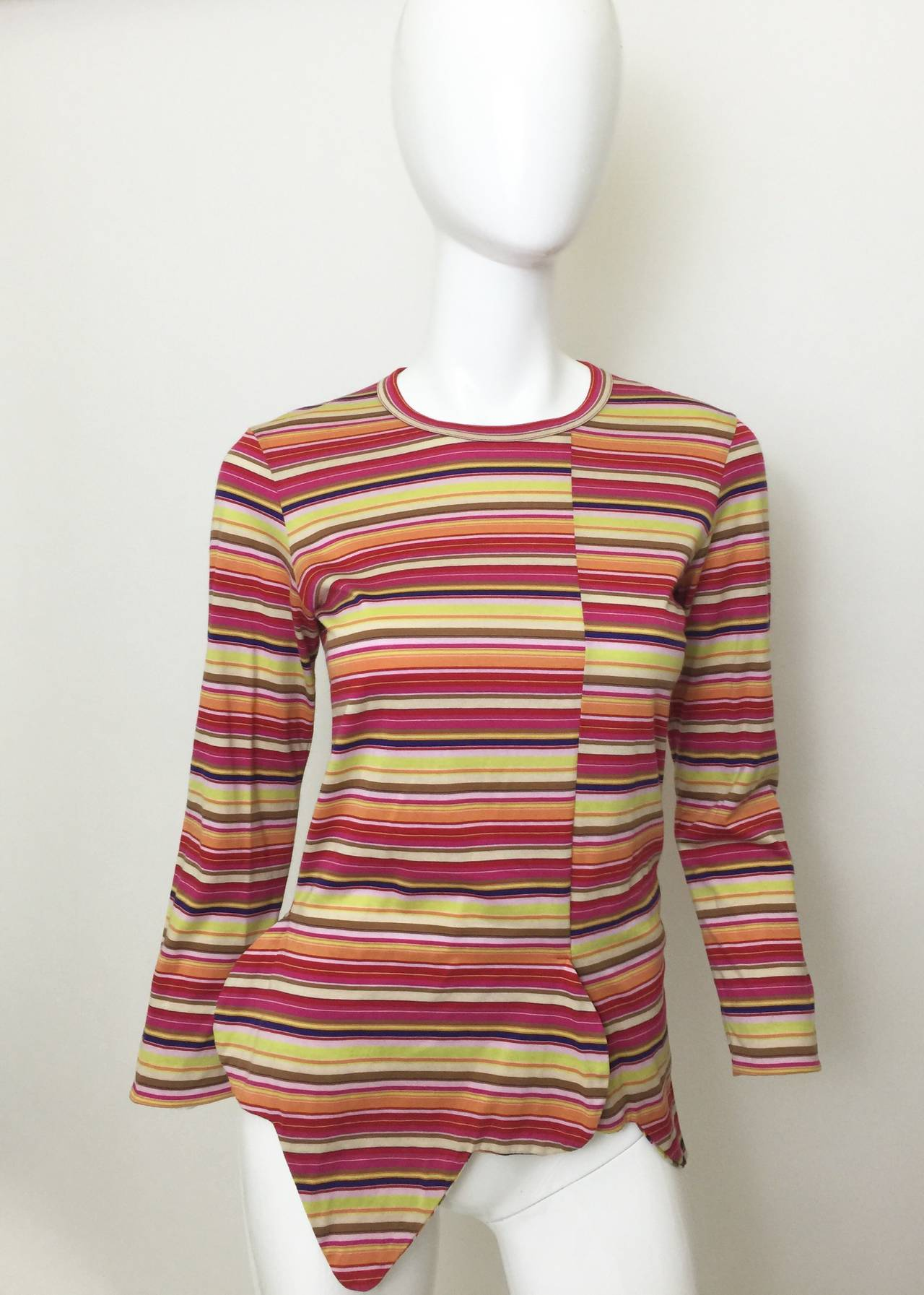 Comme des Garcons multi stripe Shirt 1990's In Excellent Condition For Sale In Boca Raton, FL