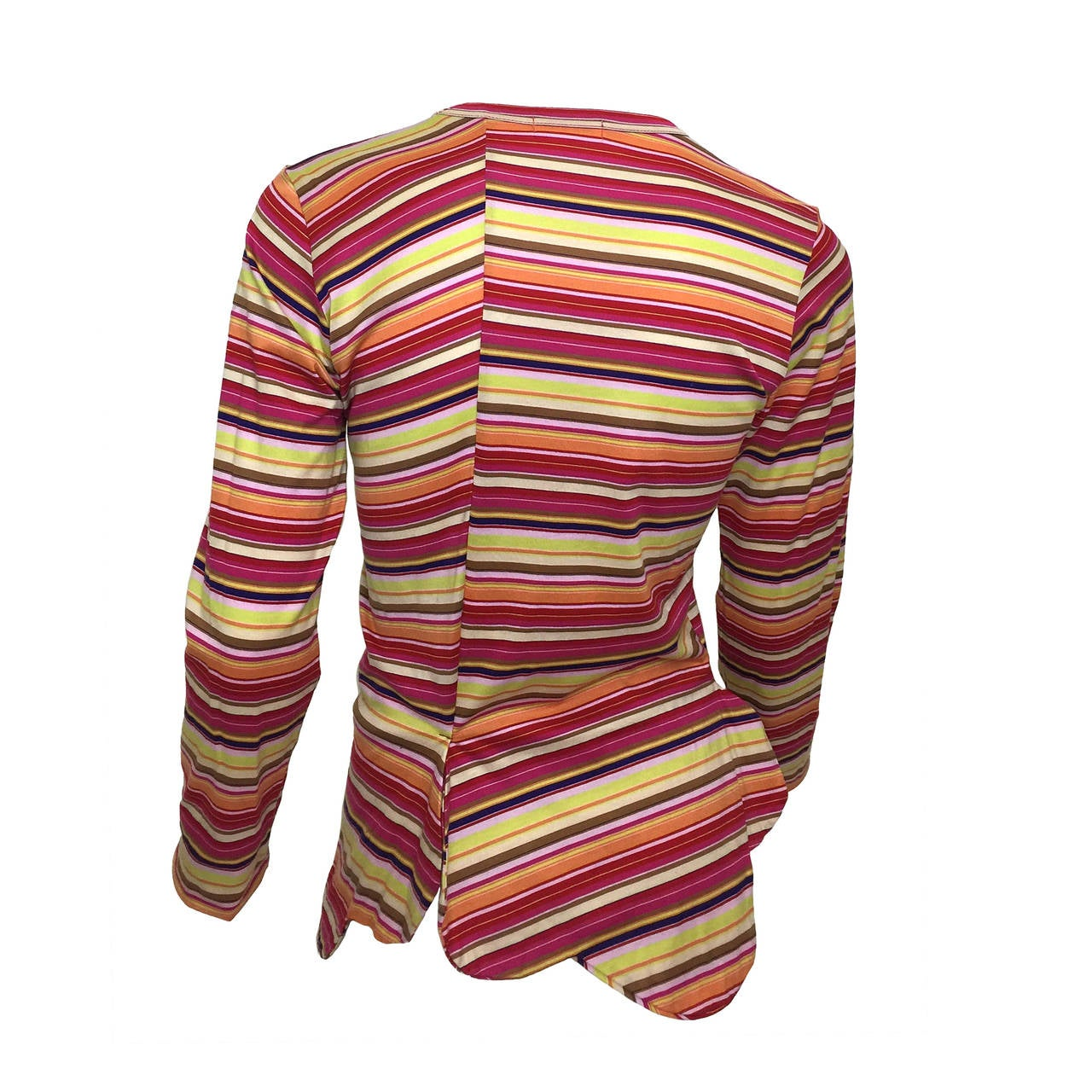 Colorful stripes, and a unique scalloped hemline. 
