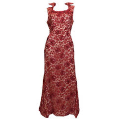 1960s  Hourglass Mermaid Red Lace  Cut Out Back Dress