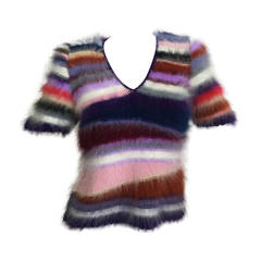 Vintage Rainbow Stripes Mohair / Fur Colorful Sweater &Top