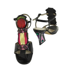 Yves Saint Laurent Patent Leather and Jewel 'Monaco' T- Strap Heel Sandals