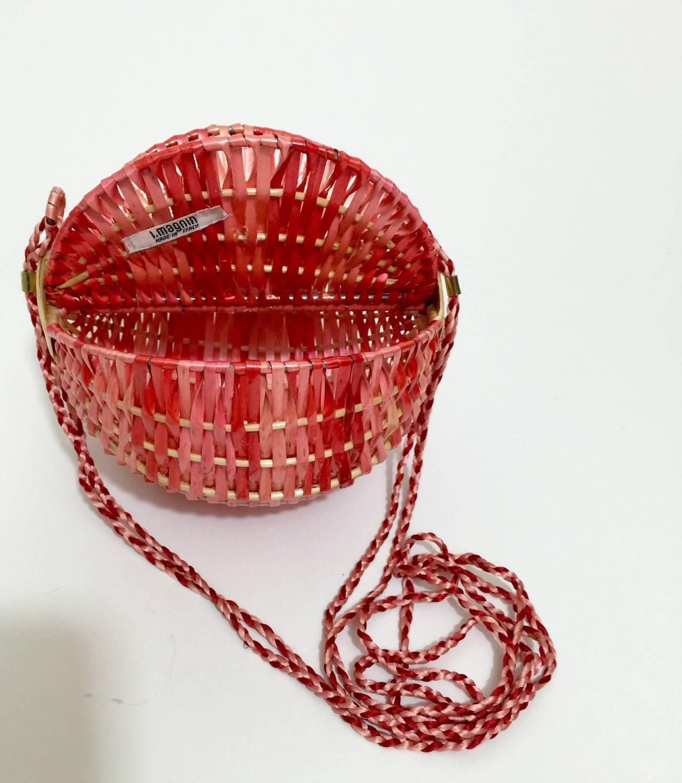 Woven Disc Basket : Vintage i magnin lacquered woven raffia italian