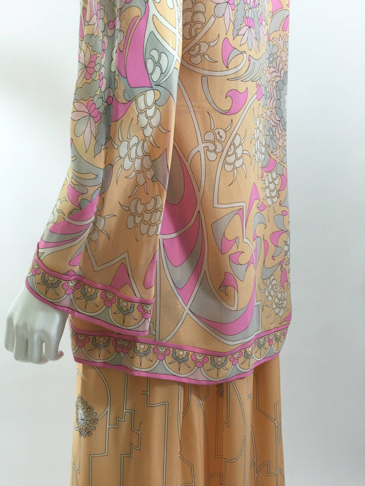 Ethereal 1960'S Emilio Pucci Vintage Silk Dress & Jacket Set Vintage w/ Tags In Excellent Condition For Sale In Boca Raton, FL
