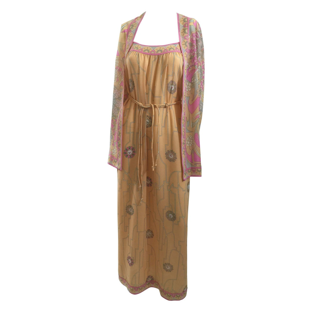 Ethereal 1960'S Emilio Pucci Vintage Silk Dress & Jacket Set Vintage w/ Tags