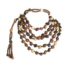 Vintage Wood  Bead and Tassel Belt & Necklace