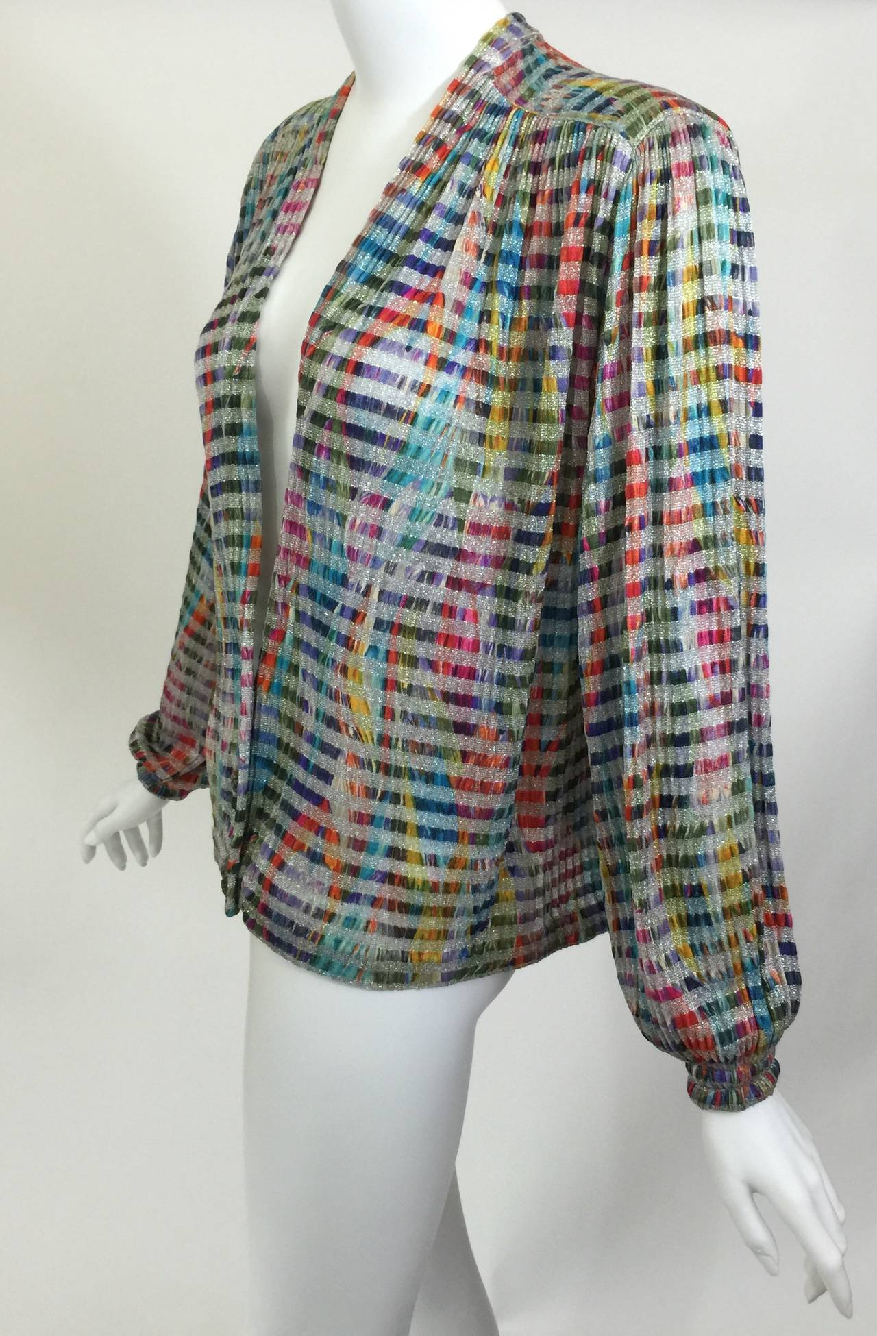 Gray 1970s Missoni Metallic Knit Cardigan Top For Sale