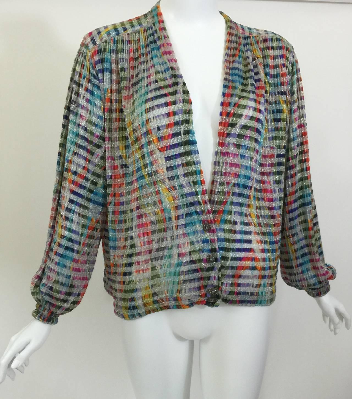 1970s Missoni Metallic Knit Cardigan Top In Excellent Condition For Sale In Boca Raton, FL