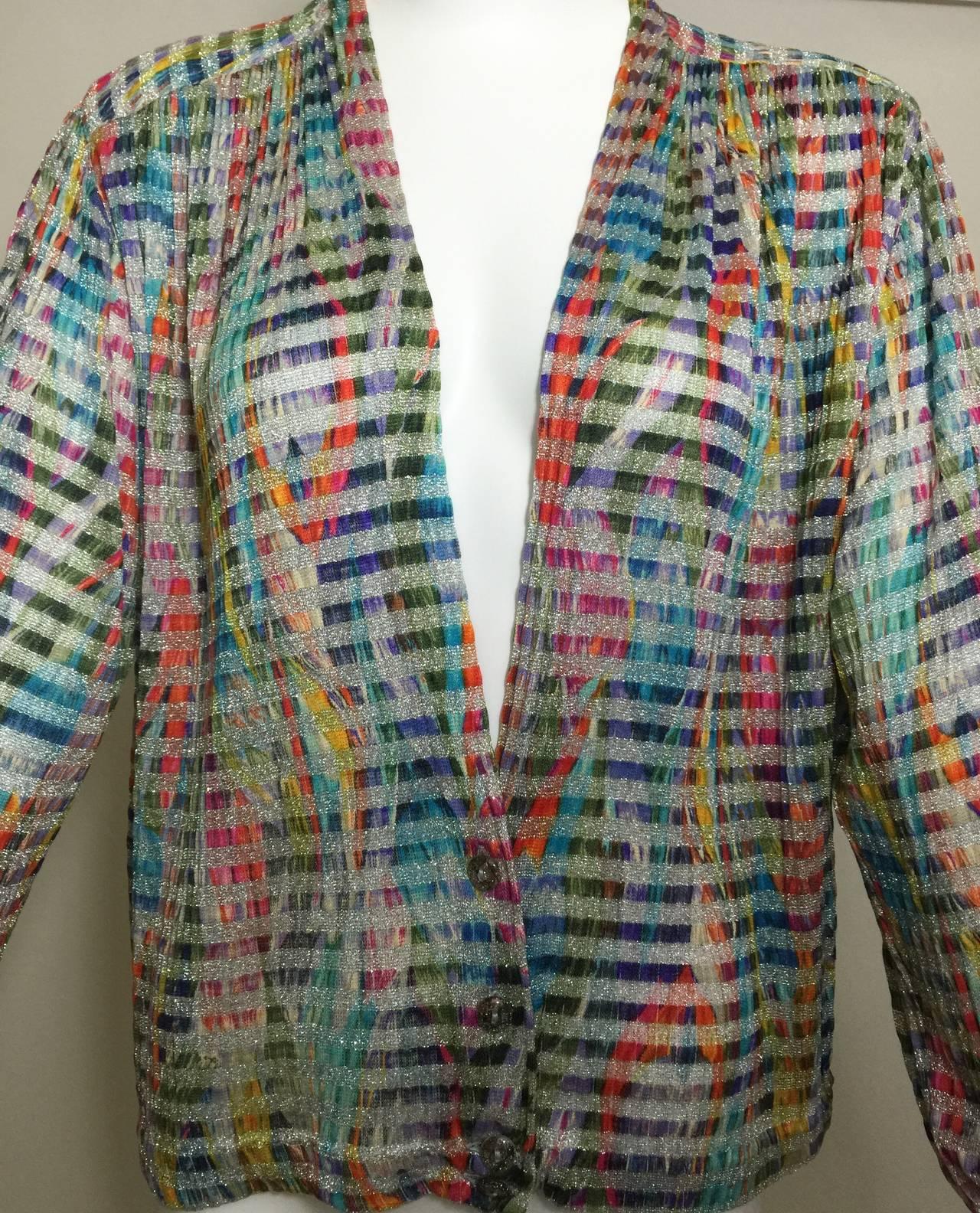 Women's 1970s Missoni Metallic Knit Cardigan Top For Sale