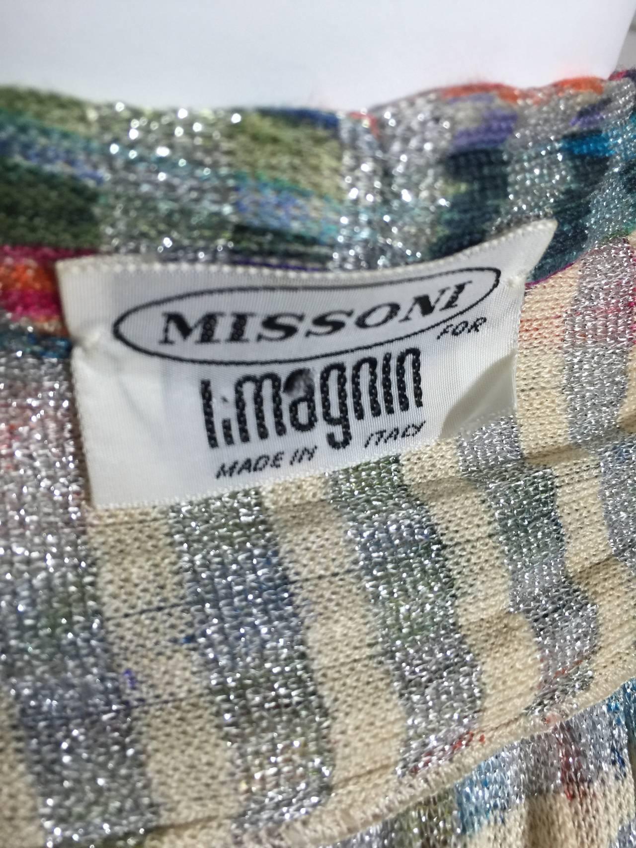 1970s Missoni Metallic Knit Cardigan Top For Sale 2