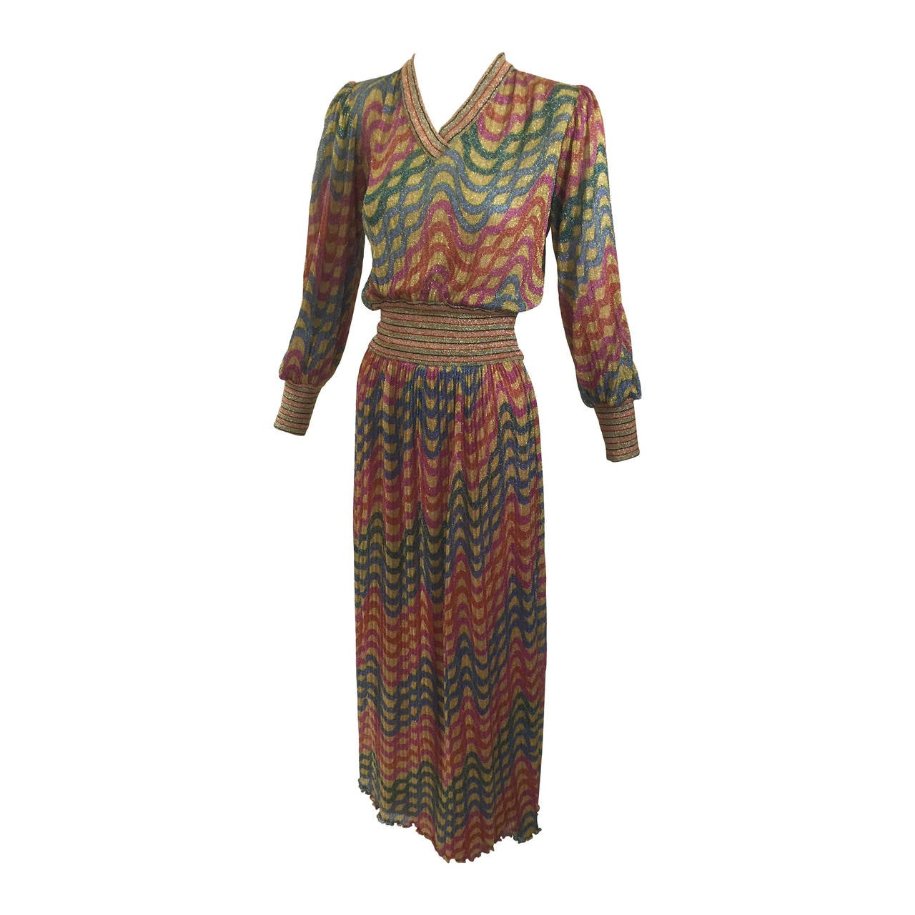 Vintage 1970s Missoni Metallic Top and Skirt Set