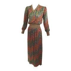Vintage 1970s Missoni Metallic Top and Skirt Set