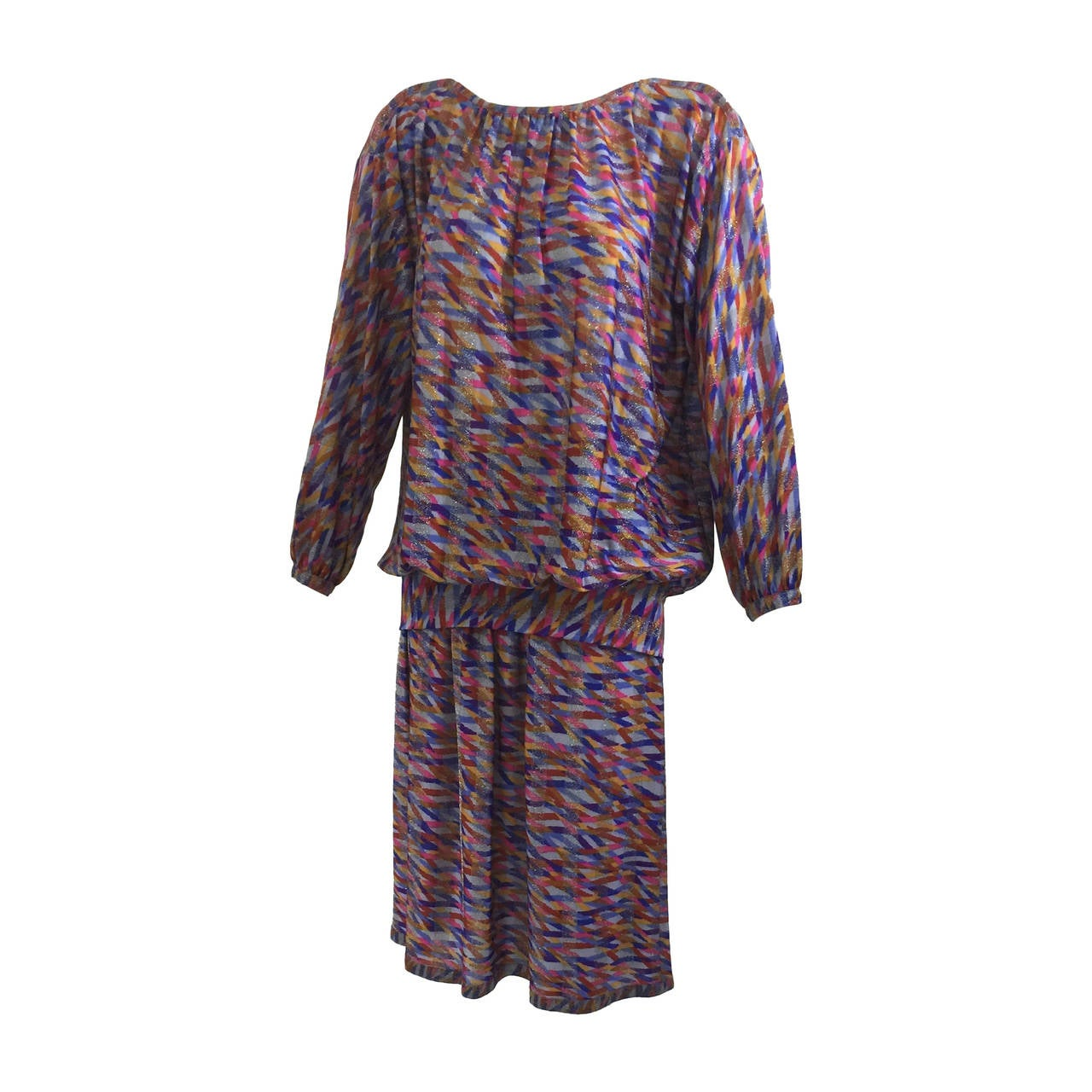 Vintage  Missoni Metallic Silk Jersey Top and Skirt Set