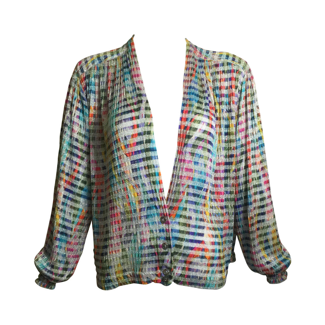 1970s Missoni Metallic Knit Cardigan Top 1