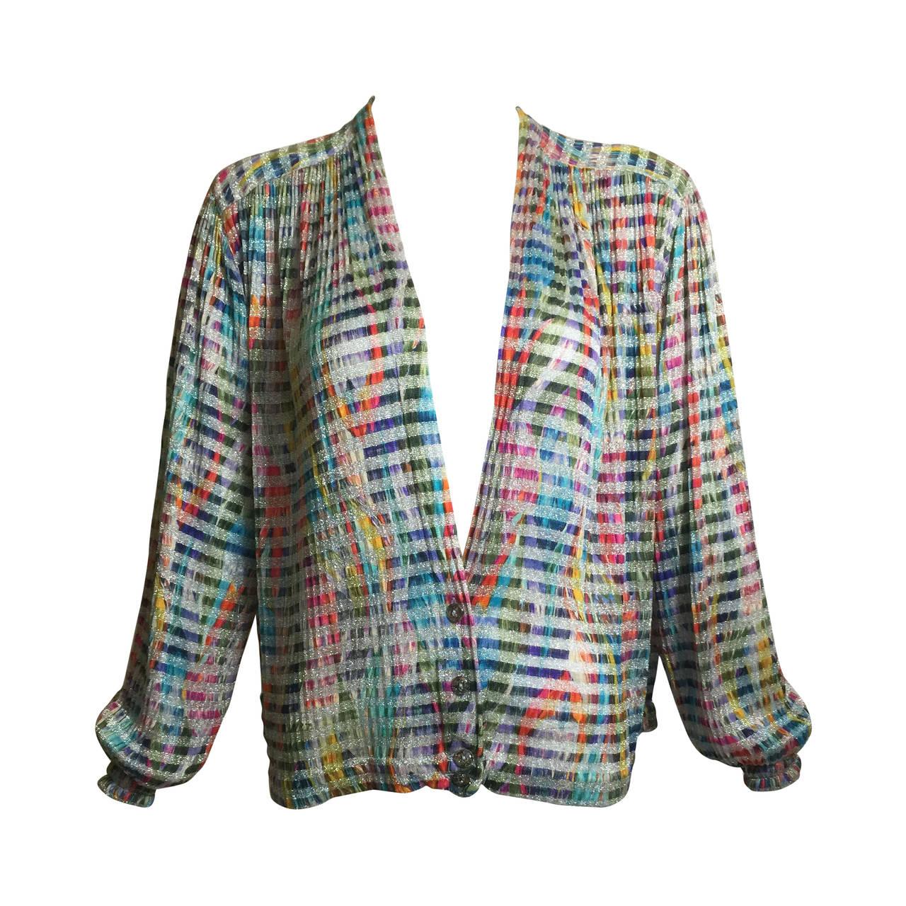 1970s Missoni Metallic Knit Cardigan Top