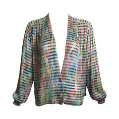 1970s Missoni Metallic Knit Cardigan Top