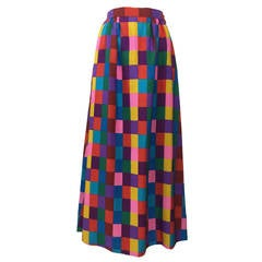 1970s Valentino Silk Multicolored ColorBlock Maxi Skirt