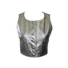 1990s Chanel Silver Leather Vest