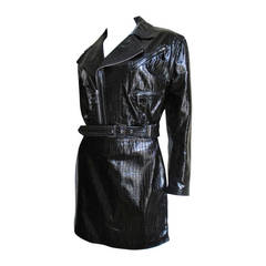 Vintage Gianni Versace Patent Leather Motorcycle Jacket & Skirt