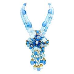 Rare Gripoix Glass 2-Strand Pendant Necklace
