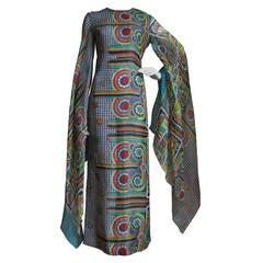 1960's Pierre Cardin Psychedelic Angel Sleeve Dress