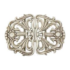 Art Nouveau Sterling Silver Belt Buckle England c1897