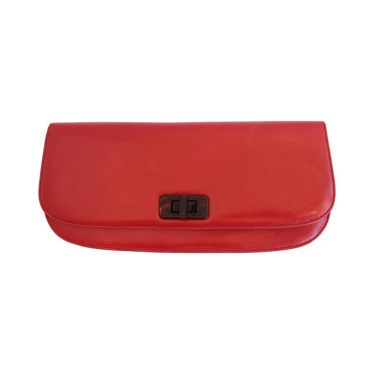 Prada Red Leather Foldover Clutch at 1stdibs