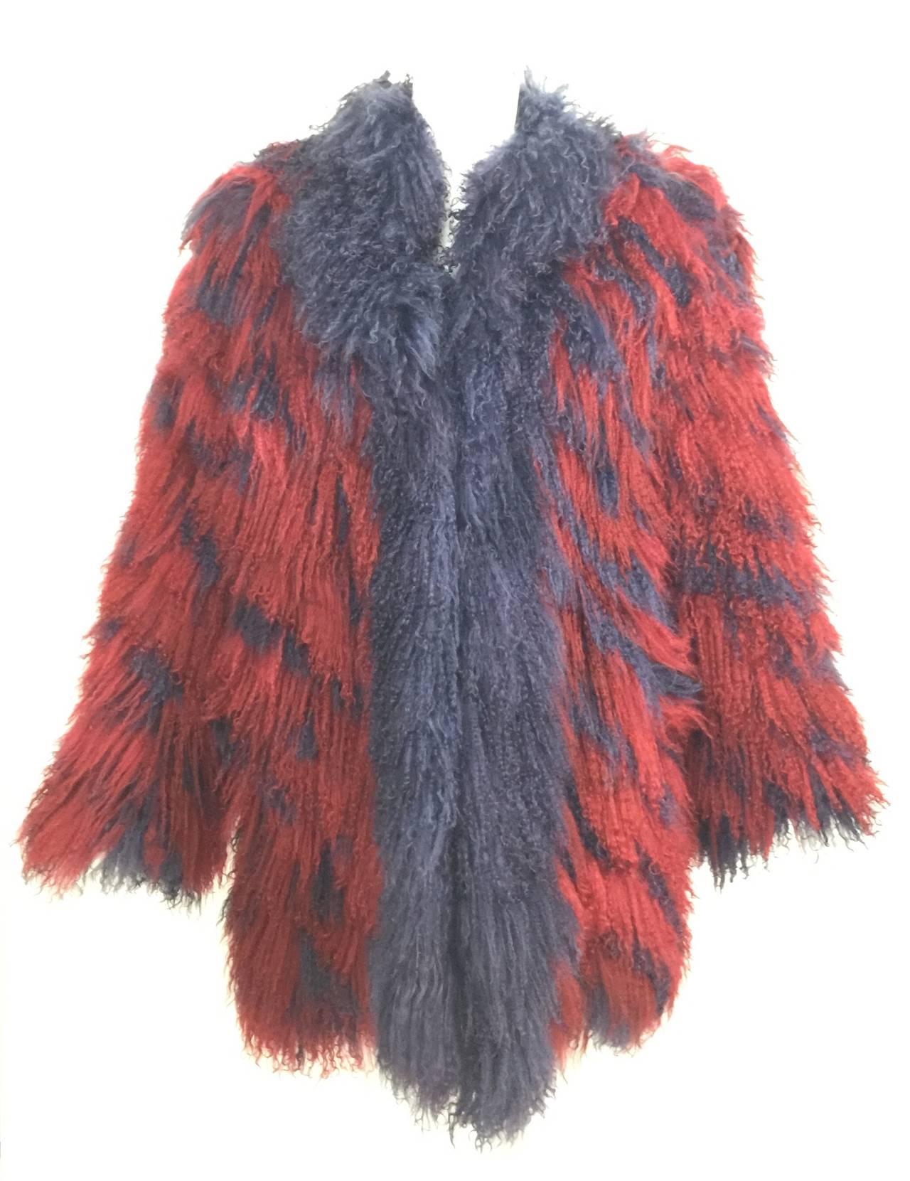 Vintage Yves Saint Laurent Fourrures Iconic Mongolian Red & Purple Fur Coat 5