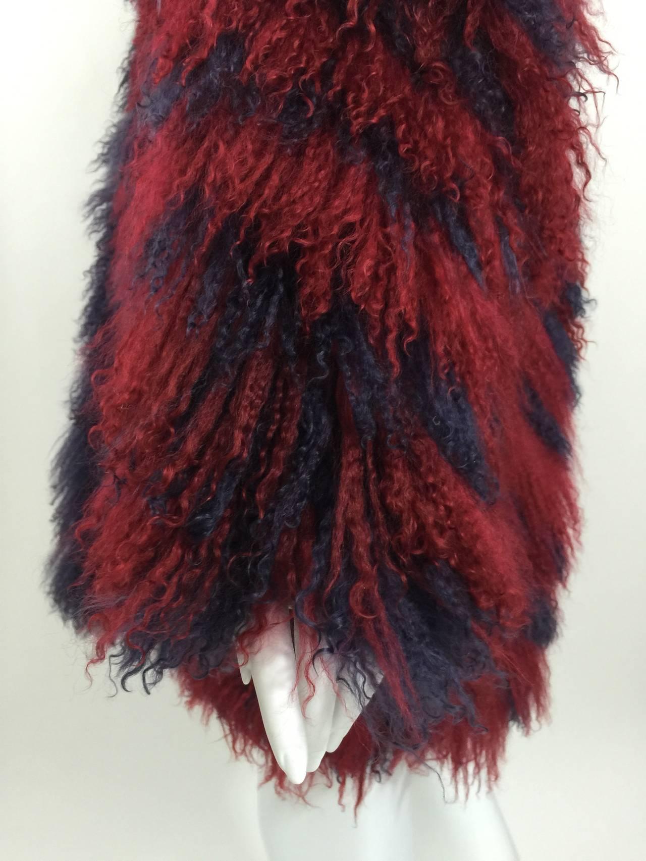 Vintage Yves Saint Laurent Fourrures Iconic Mongolian Red & Purple Fur Coat 6
