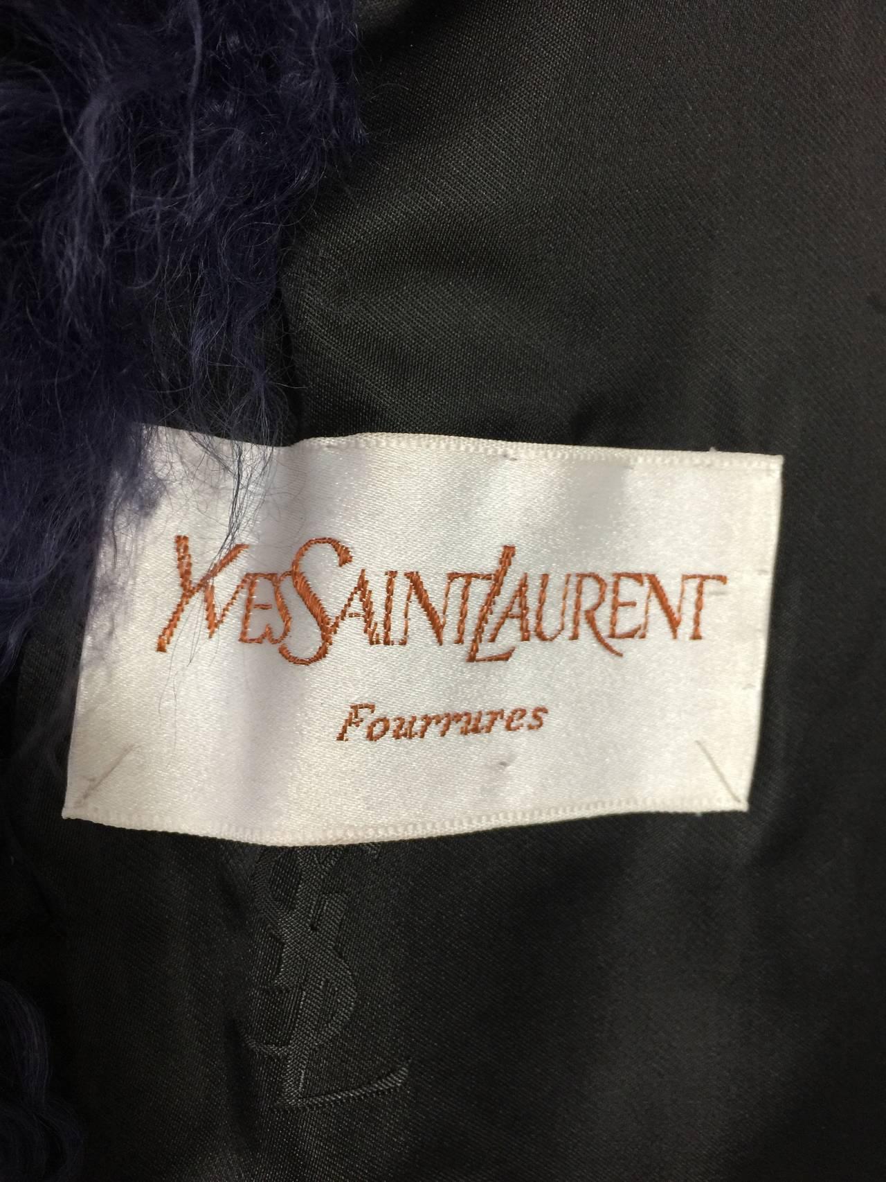 Vintage Yves Saint Laurent Fourrures Iconic Mongolian Red & Purple Fur Coat 7