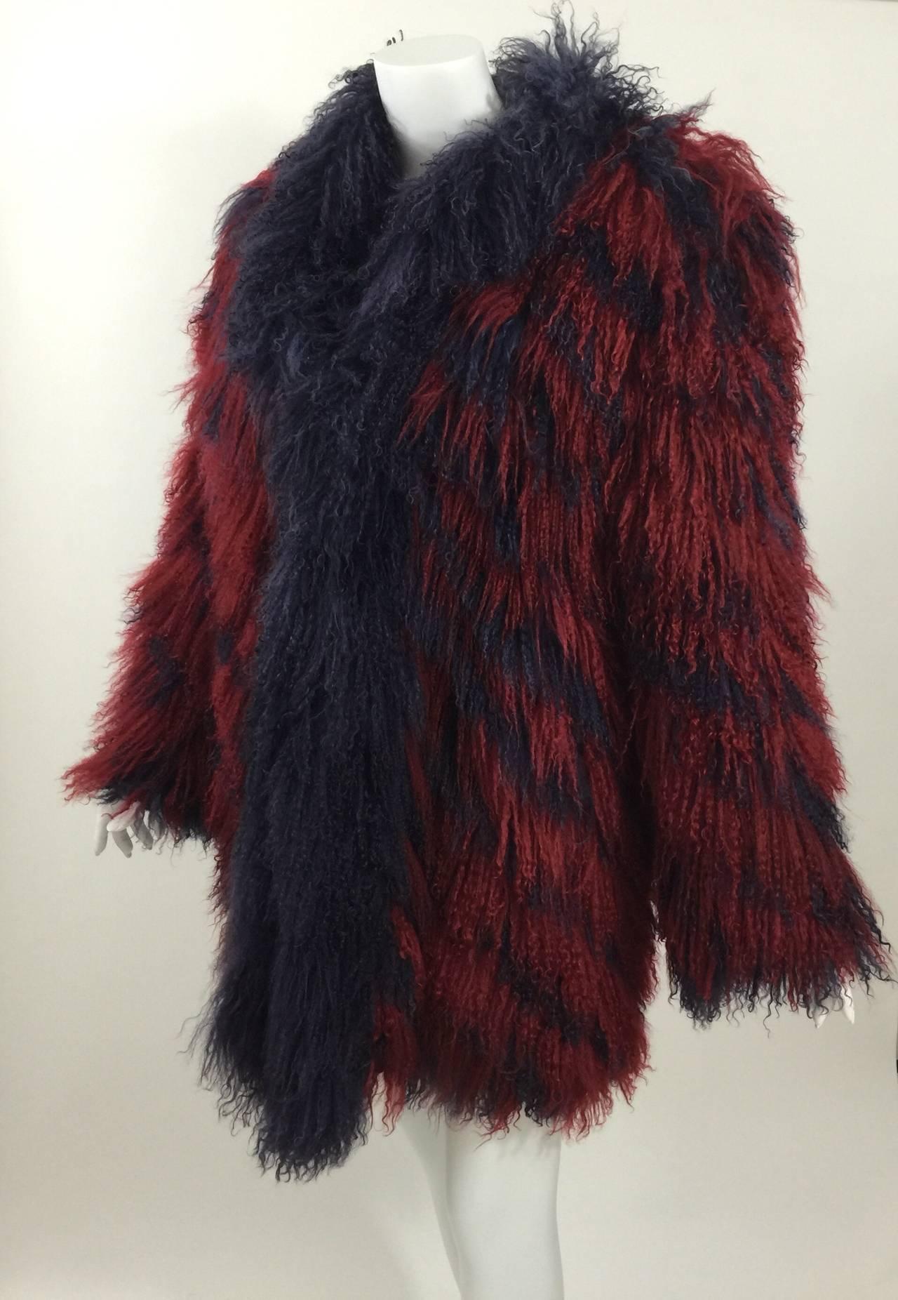 Vintage Yves Saint Laurent Fourrures Iconic Mongolian Red & Purple Fur Coat 8