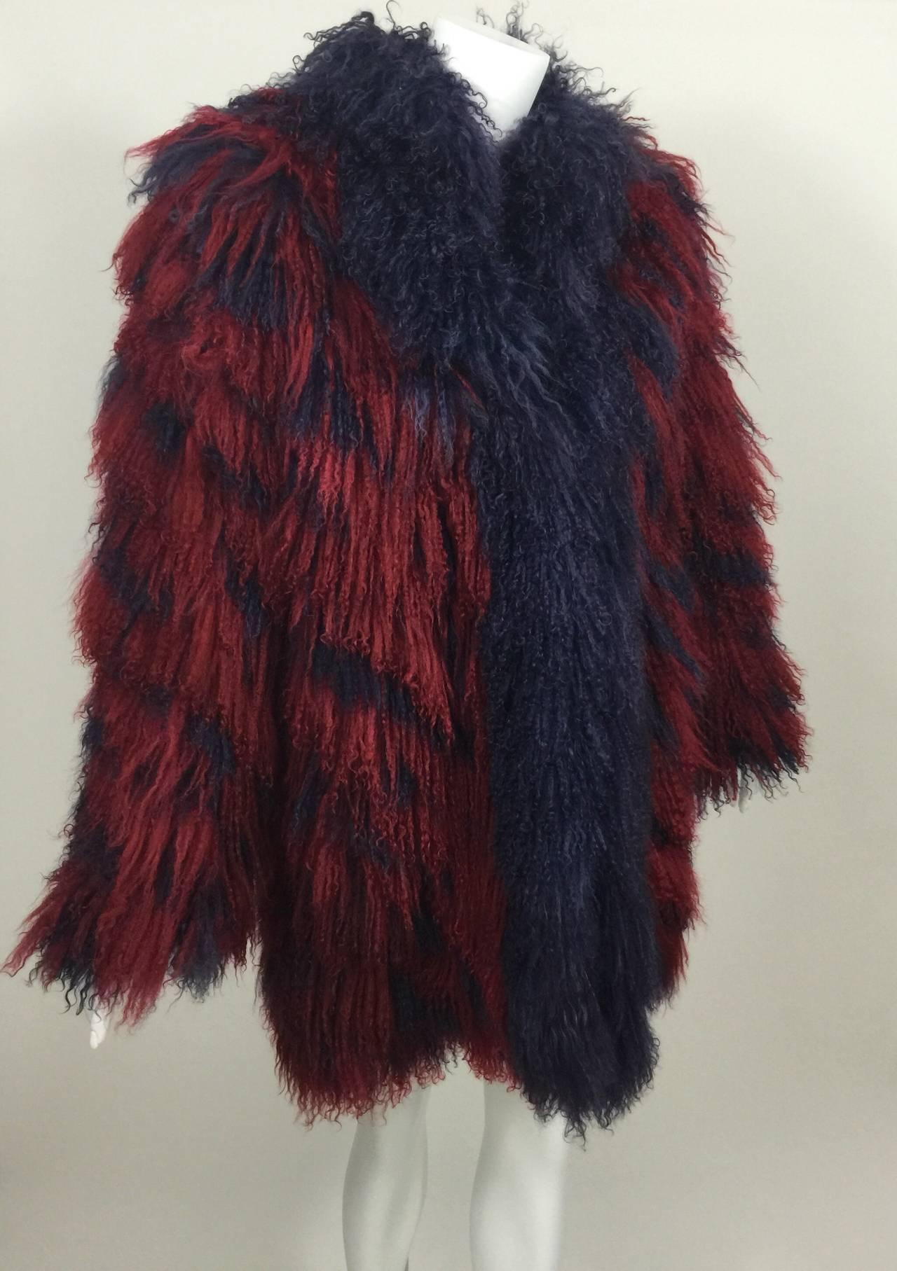 Vintage Yves Saint Laurent Fourrures Iconic Mongolian Red & Purple Fur Coat 9