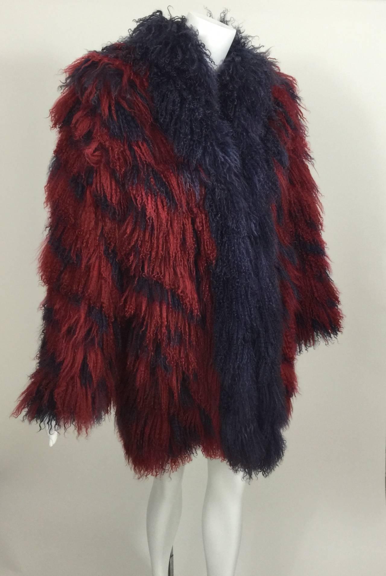 Vintage Yves Saint Laurent Fourrures Iconic Mongolian Red & Purple Fur Coat 2