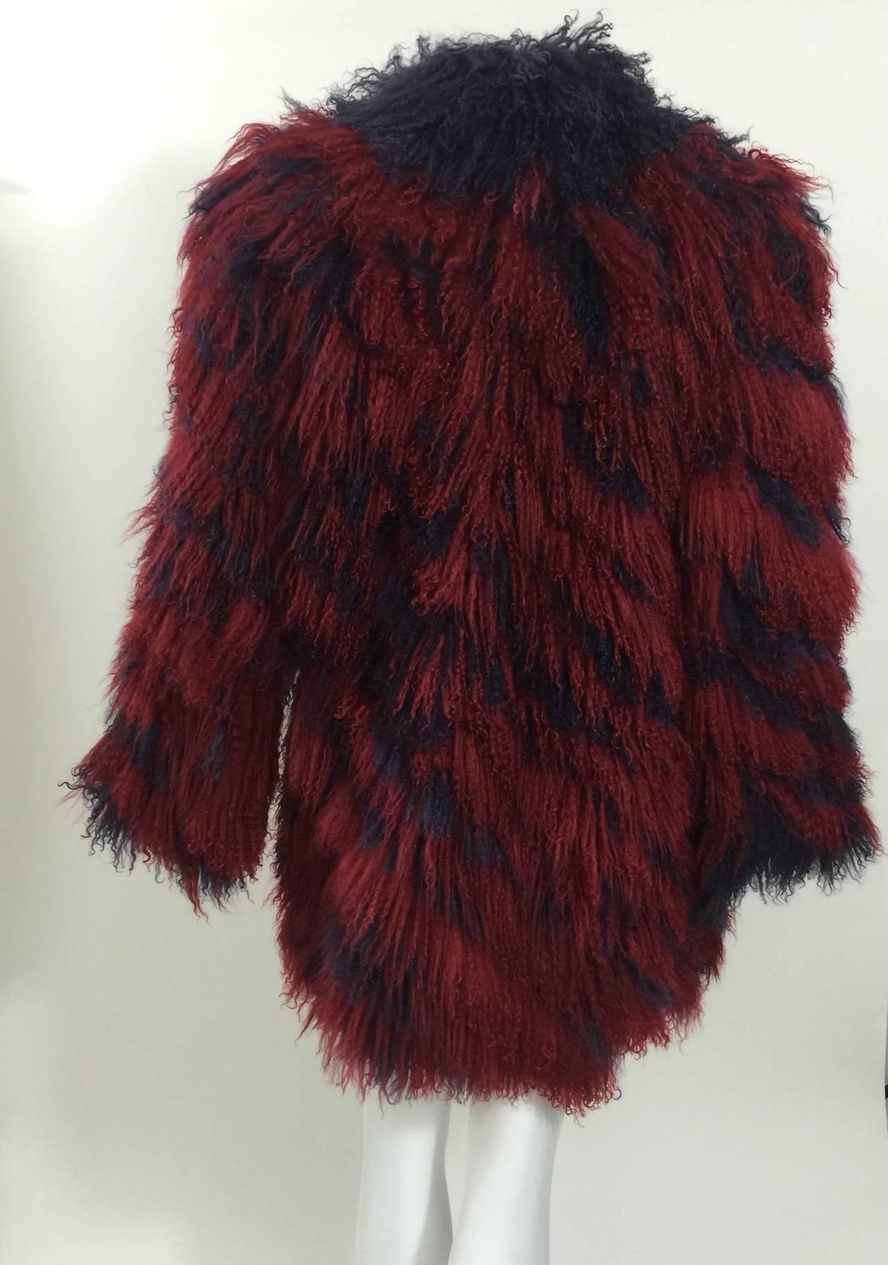 Vintage Yves Saint Laurent Fourrures Iconic Mongolian Red & Purple Fur Coat 3