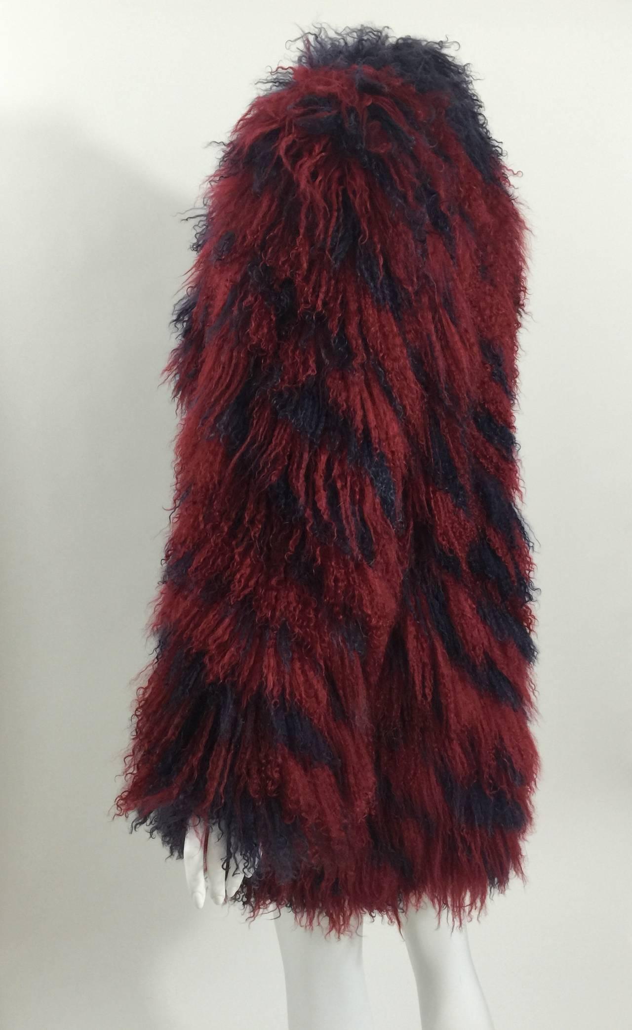 Vintage Yves Saint Laurent Fourrures Iconic Mongolian Red & Purple Fur Coat 4