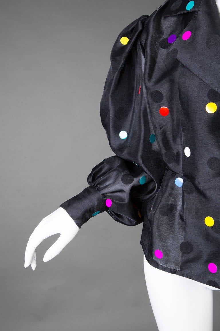 Vintage Givenchy  Boutique Black Organza Colorful Paillettes Polka Dots Blouse T For Sale 1