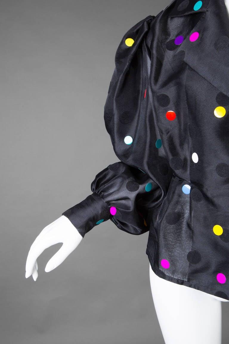 Vintage Givenchy  Boutique Black Organza Colorful Paillettes Polka Dots Blouse T 5