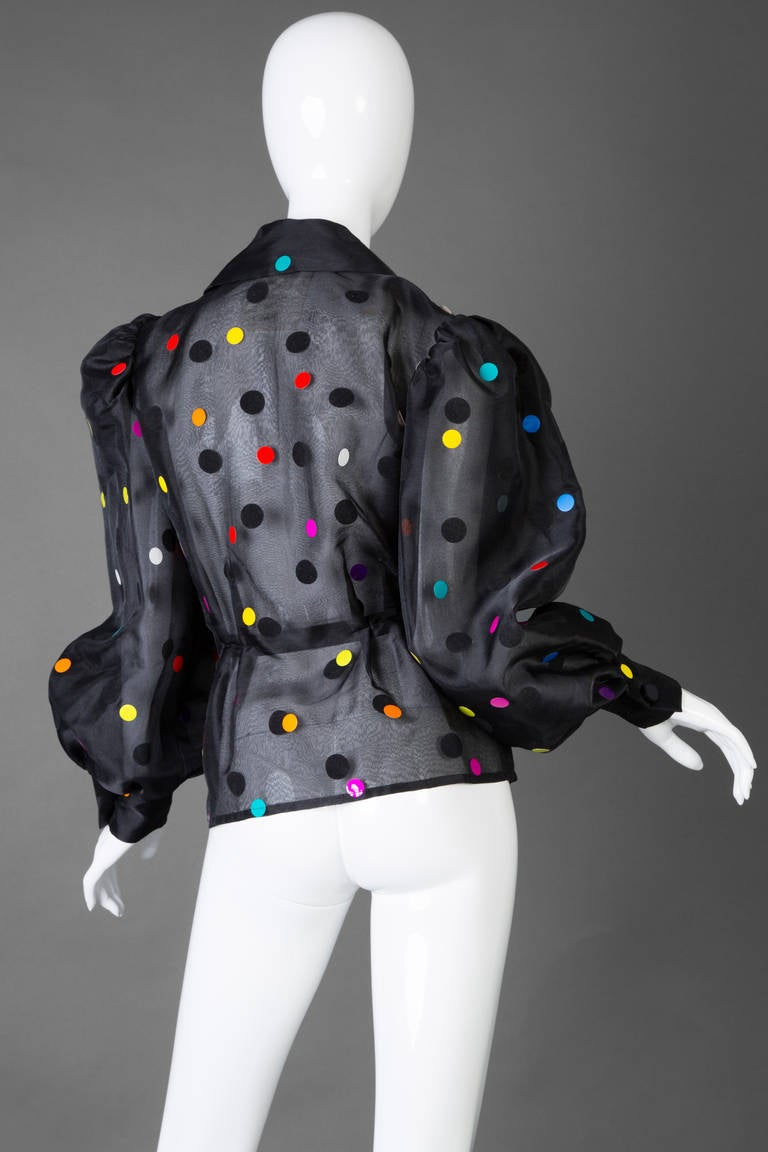 Vintage Givenchy  Boutique Black Organza Colorful Paillettes Polka Dots Blouse T In Excellent Condition For Sale In Boca Raton, FL