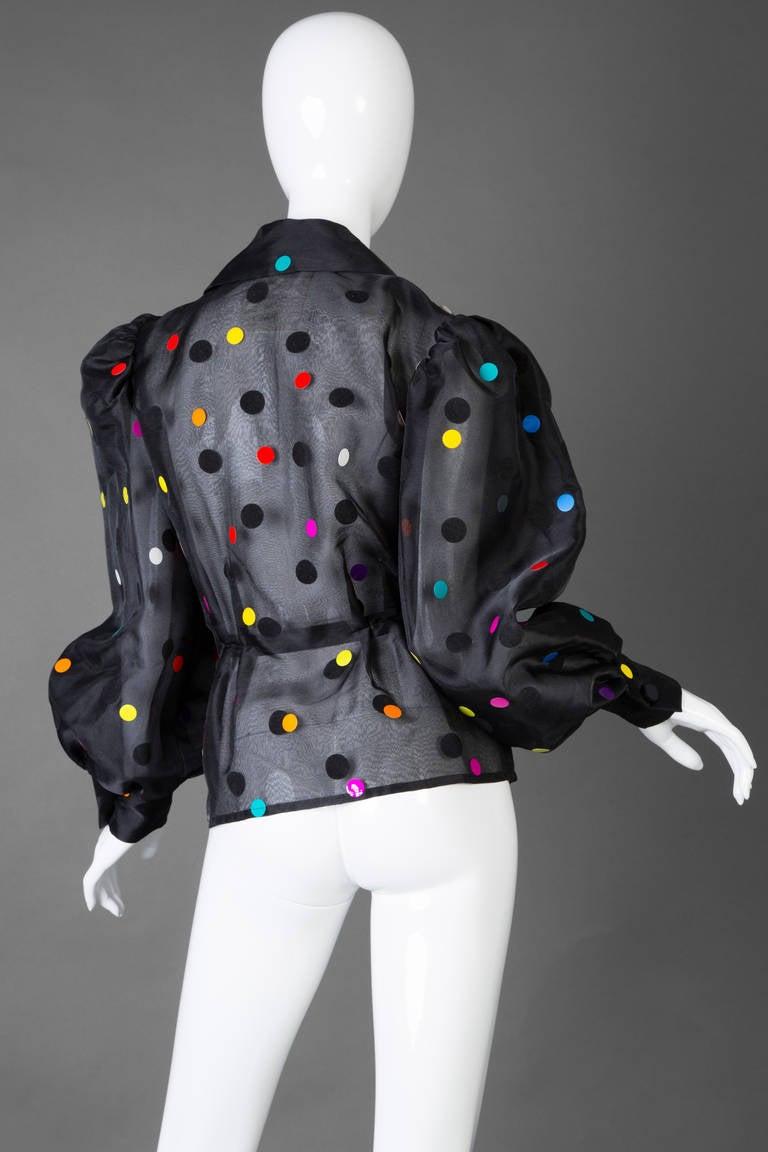 Vintage Givenchy  Boutique Black Organza Colorful Paillettes Polka Dots Blouse T 3