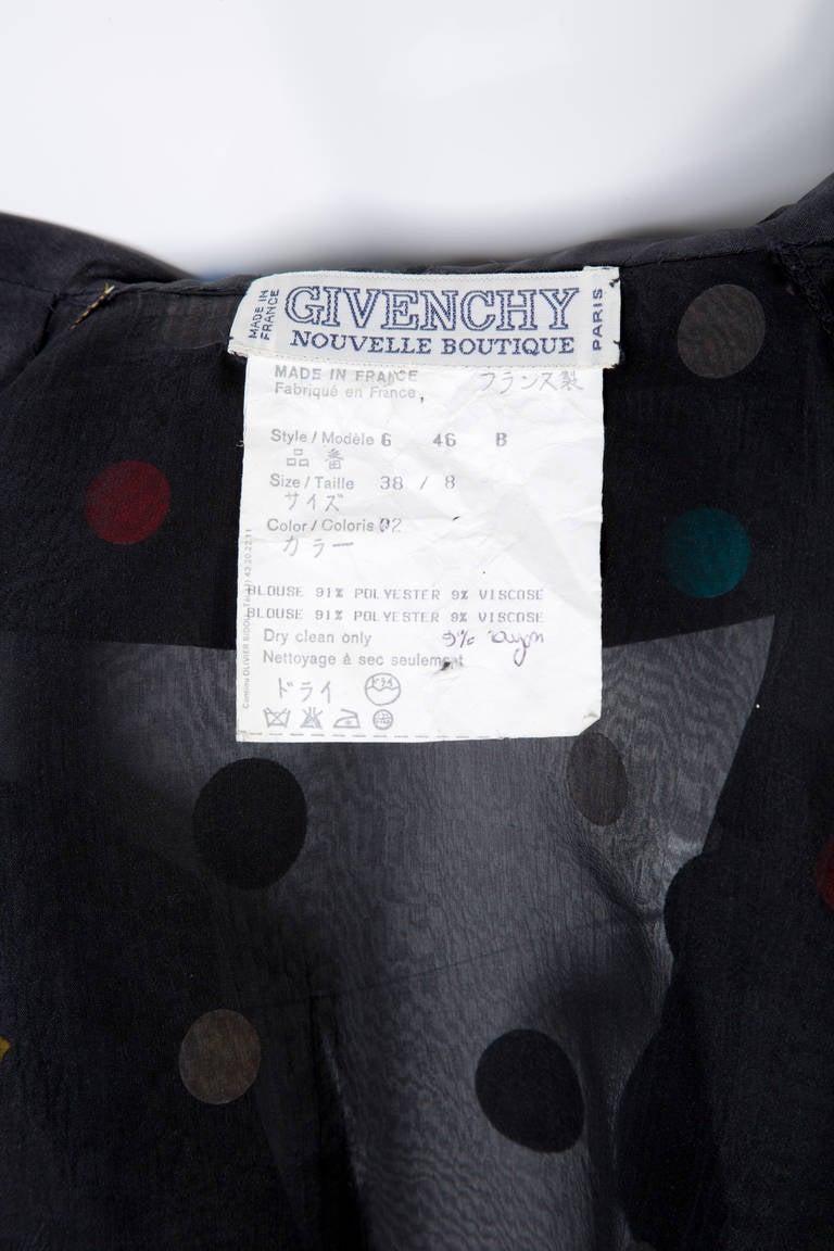 Vintage Givenchy  Boutique Black Organza Colorful Paillettes Polka Dots Blouse T 6