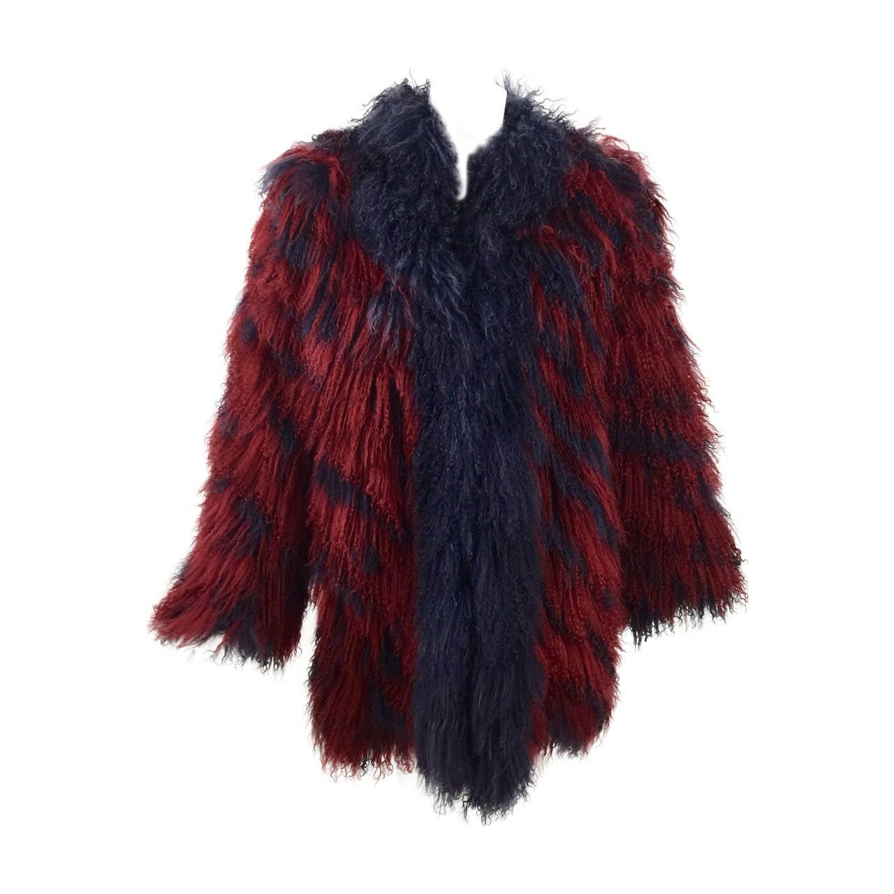 Vintage Yves Saint Laurent Fourrures Iconic Mongolian Red & Purple Fur Coat 1